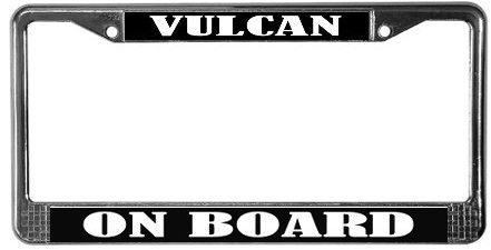 Star Trek Vulcan on board license plate frame