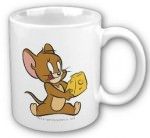 Jerry really likes his cheese specially gouda cheese and now he is printed on this coffee mug with some cheese.