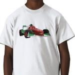 Cars 2 formula racing hero Francesco Bernoulli on a great kids t-shirt