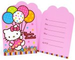 Hello Kitty Balloon dreams birthday invitations