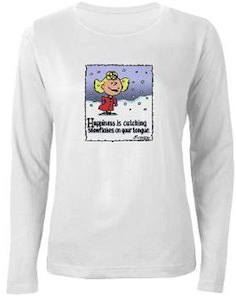 Peanuts Happiness is Catching Snowflakes T-Shirt