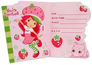 Strawberry Shortcake Party Invitations