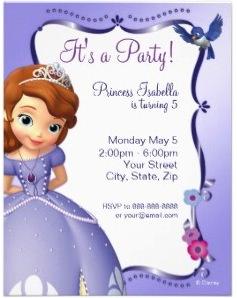 Sofia the first birthday invitations disney sofia the first birthday invitations filmwisefo