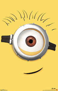 fun yellow poster with the face of Carl the Minion that we all seen in the movie Despicable Me