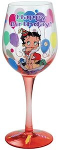 Betty Boop Happy Birthday Wine Glass