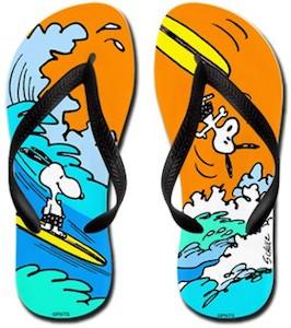 Snoopy Surf's Up Flip Flops