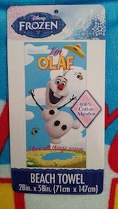 Frozen beach towel with Olaf on it