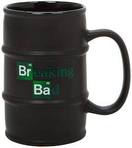 black barrel mug with the Breaking Bad logo