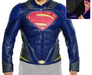 Superman Man Of Steel Leather Motorcycle Jacket