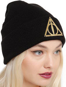 Harry Potter Metal Deathly Hallows Logo Beanie Hat
