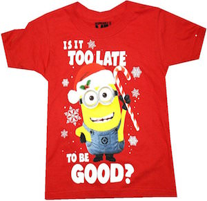 despicable me minion is it too late to be good kids christmas t shirt - Minion Christmas Shirt
