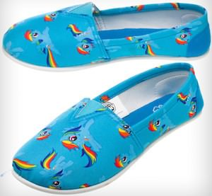 Adult sized My Little Pony Rainbow Dash Slip On Shoes