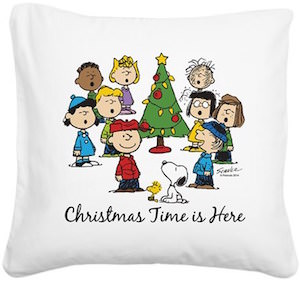 Peanuts Christmas Pillow with Snoopy and the gang