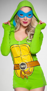 TMNT Women's Costume Romper With Hood And Masks