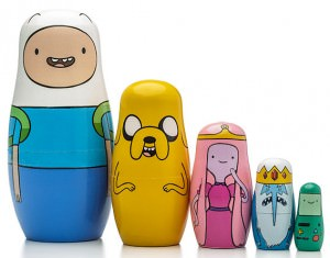 Wooden Adventure Time 5 Piece Nesting Dolls