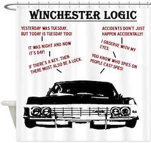 Supernatural Winchester Logic Shower Curtain
