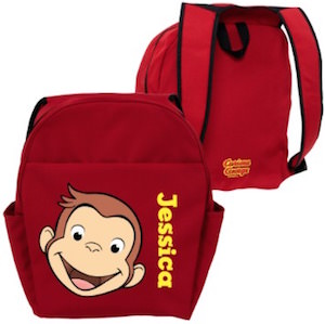 Personalized Red Curious George Backpack