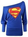 Superman Logo Off The Shoulder Slouch Top
