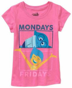 Inside Out Monday Sadness Friday Joy Kids T-Shirt