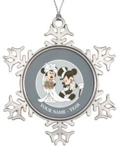 Mickey And Minnie Personalized Snowflake Christmas Ornament