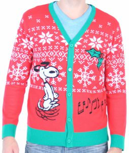 peanuts snoopy ugly christmas sweater cardigan