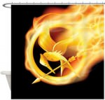 The Hunger Games Flaming Mockingjay Shower Curtain