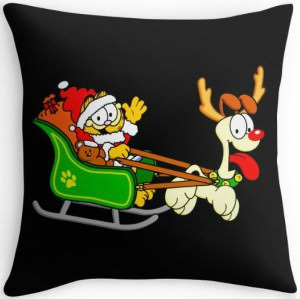 Garfield And Odie Christmas Throw Pillow