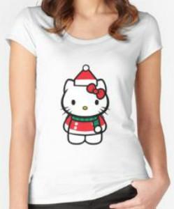 092e9f8f48d24 Hello Kitty Christmas Red Santa Hat T-Shirt