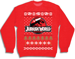 Jurassic World Red Christmas sweater