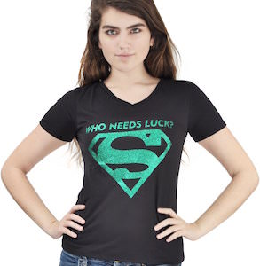 Supergirl Who Needs Luck Logo T-Shirt