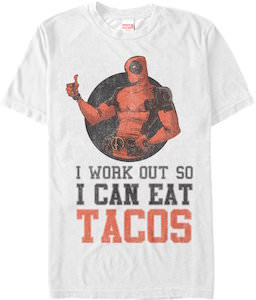 Marvel Deadpool I Work Out So I Can Eat Tacos T-Shirt