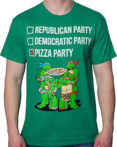 Teenage Mutant Ninja Turtles Vote Pizza Party T-Shirt