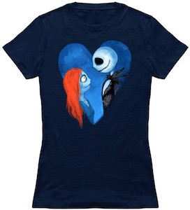The Nightmare Before Christmas Jack And Sally Heart T-Shirt