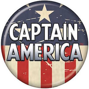 Captain America Distressed Looking Button