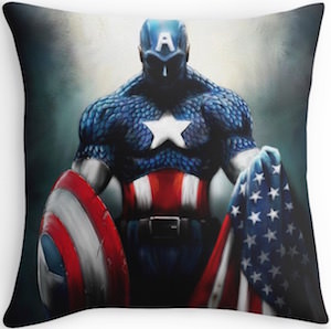 Captain America And The Flag Throw Pillow