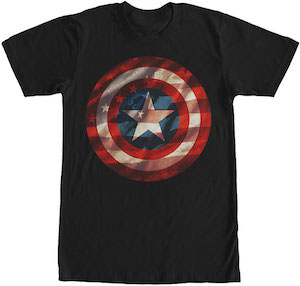 Captain America Shield And Flag T-Shirt