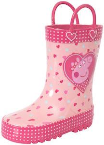 Peppa Pig Pink Hearts Rain Boots
