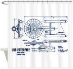 Star Trek Enterprise Blueprint Shower Curtain
