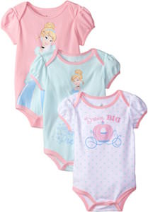 Princess Cinderella Baby Bodysuit Set Of 3
