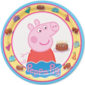 Peppa Pig Round Paper Plates With Birthday Cake