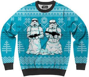 Star Wars Ugly Christmas Sweater With Stormtrooper Snowmen