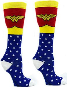 Wonder Woman Costume And Logo Socks