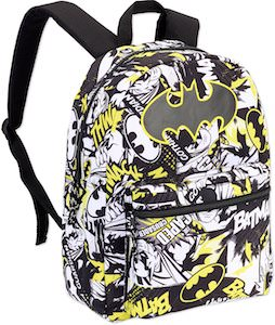 Batman Black And White Backpack With Yellow Details