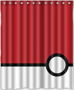 Pokemon Poke Ball Shower Curtain