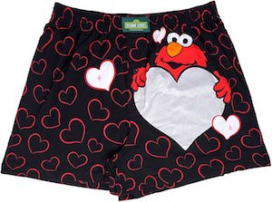 Elmo Be Mine Men's Boxers With Hearts