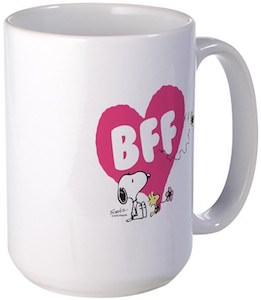 Snoopy And Woodstock BFF Heart Mug