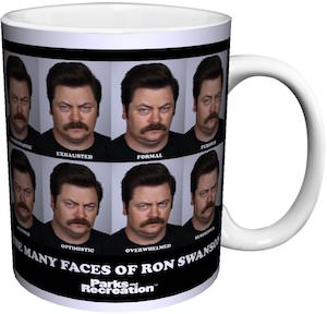 The Many Faces Of Ron Swanson Mug