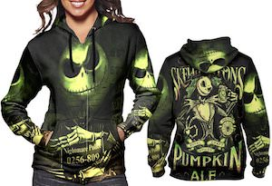 Women's Jack Skellington Black And Green Hoodie