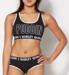 DC Comics Black Harley Quinn Sports Bra And Panties Set