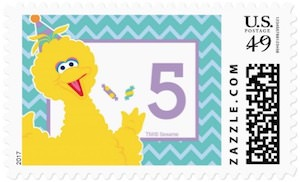 Big Bird Birthday Postage Stamp